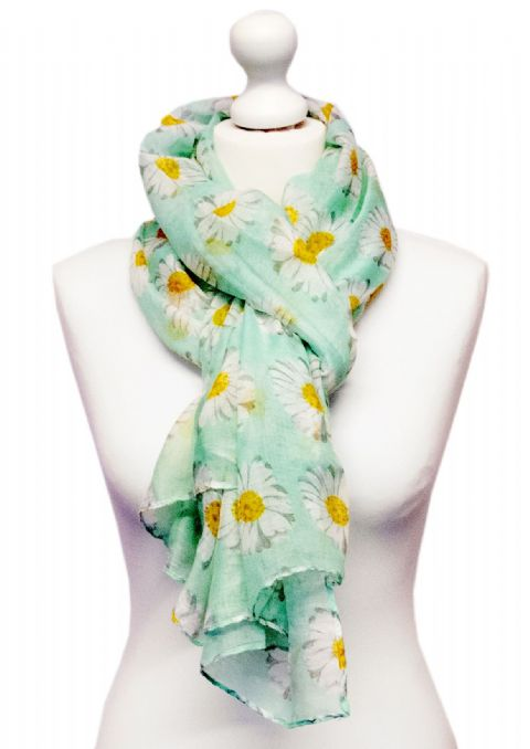 Believe -  Large Silky Touch Daisy Print Scarf (Mint Green)